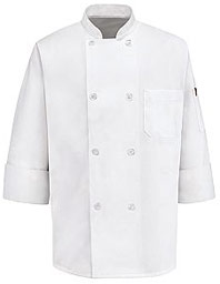 Long Sleeve Eight Pearl Button Chef Coat with Thermometer Pocket