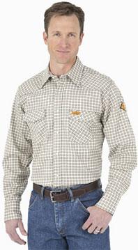 Wrangler® FR Flame Resistant Khaki/White Plaid Western Shirt