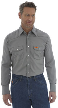 Wrangler® FR Flame Resistant Charcoal Western Shirt