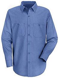 Red Kap Men's Industrial Stripe Long Sleeve Broadcloth Work Shirt