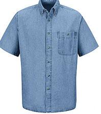 Wrangler's Men's Denim Short Sleeve Work Shirt