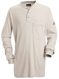 Bulwark Flame Resistant Long Sleeve Tagless Henley Shirt