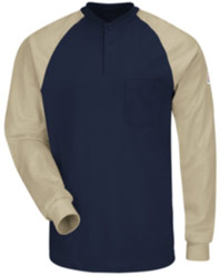 Bulwark Flame Resistant Color Blocked Henley Shirt
