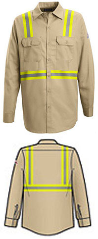 Bulwark Flame Resistant Button Front Work Shirt with Reflective Trim