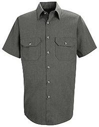 Red Kap Men's Heathered Poplin Short Sleeve Shirt
