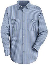 Red Kap Men's Industrial Stripe Long Sleeve Mock Oxford Shirt