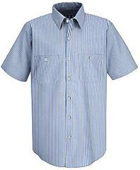 Red Kap Men's Industrial Stripe Mock Oxford Work Shirt