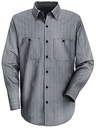 Red Kap Men's Industrial Stripe Long Sleeve Work Shirt