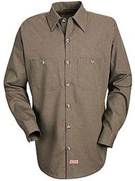 Red Kap Men's Long Sleeve Geometric Micro-Check Work Shirt