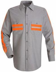 Red Kap Men's Long Sleeve Enhanced Visibility Shirt