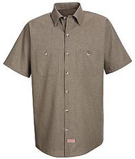 Red Kap Men's Short Sleeve Geometric Micro-Check Work Shirt