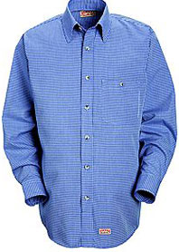 Red Kap Men's Mini-Plaid Uniform Shirt