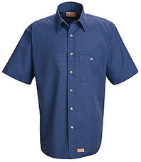 Red Kap Men's Short Sleeve Mini Plaid Uniform Shirt