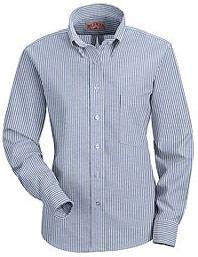 Red Kap Women's Striped Executive Button-Down Long Sleeve Shirt