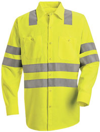 Red Kap Hi-Visibility Long Sleeve Work Shirt with Double Stripe