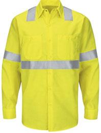 Red Kap Hi-Visibility Long Sleeve Ripstop Work Shirt - Type R, Class 2