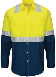 Red Kap Hi-Visibility Long Sleeve Color Block Work Shirt  - Type R, Class 2