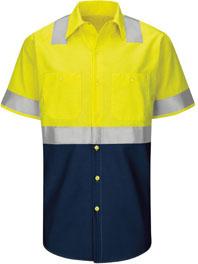Red Kap Hi-Visibility Short Sleeve Color Block Work Shirt - Type R, Class 2