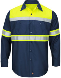 Red Kap Hi-Visibility Color Block Ripstop Work Shirt - Type O, Class 1