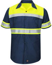 Red Kap Hi-Visibility Short Sleeve Color Block Work Shirt - Type O, Class 1